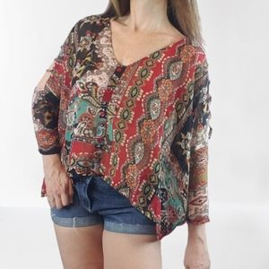 3/$30 Floral Graphic Oversized Peasant Blouse